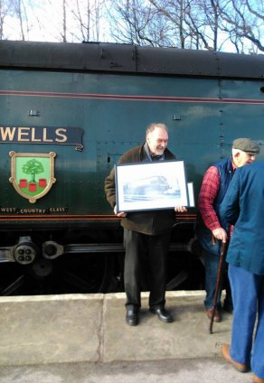 Presentation of to 'Jock' Adams, chief engineer of 34092. Photographer: Christine Laycock