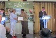 Sue Holmes collects the Award at the York Racecourse awards ceremony.