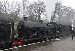 In blizzard conditions, journey's end at Oxenhope.