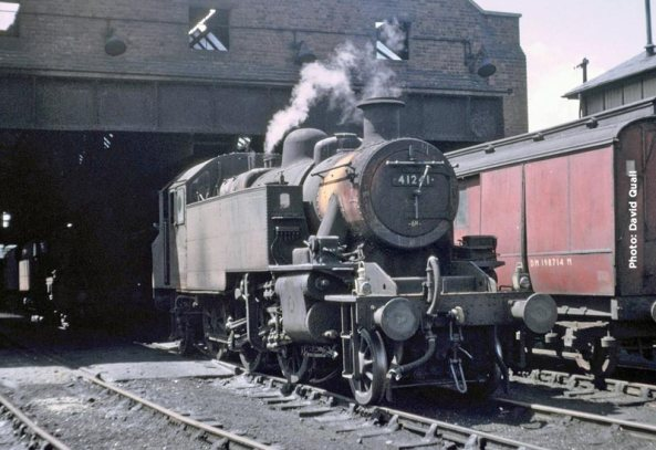 David Quail's photograph taken on the 11th July 1966 shows 41241 in a woebegone state in steam at Skipton shed. Waiting to take the Worth Valley freight? We'll never know.