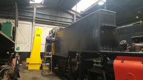 Back inside the shed and work continues