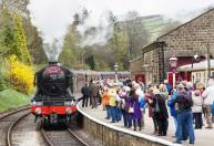 DAY 5: Passengers wait to board the first train of the day at Oxenhope.