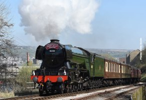 60103_Day-5 DAY 6: Under blue cloudless skies, 'Flying Scotsman' powers out up Keighley Bank.
